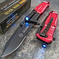 TAC-FORCE RED FIRE FIGHTER Spring Assisted Open RESCUE LED LIGHT Pocket Knife!!