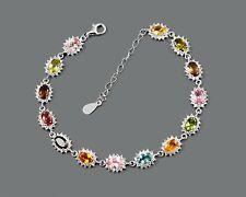 Tourmaline Gemstone October Birthstone 925 Sterling Silver Women Chain Bracelet