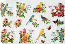 LOVELY FLOWERS BLUE BIRD BUTTERFLY SAYINGS STICKERS SEALS  Acid Free USA MADE #8