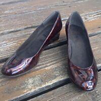 Stuart Weitzman Tortoise Brown Patent Leather Wedge Heels Sz 8.5 9 Womens Shoes