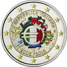 Italien 2 Euro 2012 bfr. 10 Jahre Euro Bargeld in Farbe