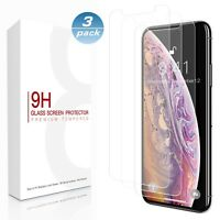 For iPhone X XS MAX XR 8 7 6Plus HD 9H Tempered Glass Screen Protector (1/3Pack)