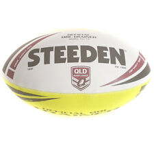 Steeden NRL Official QLD Trainer Ball in White/Yellow - Size 4 (MOD)