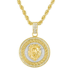 Lion Head Large Pendant Men's Iced Gold Plated 30 inch Chain Necklace HC 5078 G