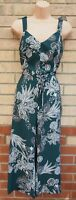 RIVER ISLAND GREEN WHITE PAISLEY FLORAL BELTED FRILL STRAP CULOTTE JUMPSUIT 12 M
