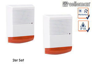 2er Set Alarmanlagensirene Attrappe rote LED Batteriebetrieb Gebäudeschutz Fake