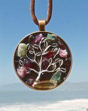 Abundance Tree of Life Pendant with Tangerine Lemurian Quartz, Ruby & Emerald.