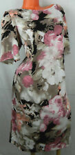 LONDON TIMES Sheath Shift DRESS 20W 2X Roses FLORAL Tan Pink CAREER PARTY Chic m