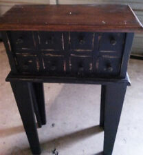 8 Drawer Wood Apothecary, Spice, Jewlery Chest - Distressed Black, Natural Top