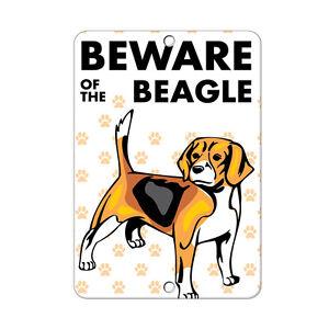Beware of BEAGLE DOG Metal Sign - 8 In x 12 In