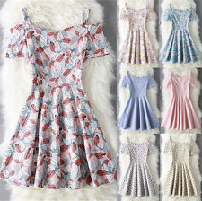 UK Vintage Womens Strapless Straps Print Swing Skater A-line Ladies Casual Dress