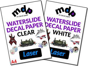 Water Slide Decal Paper A4 LASER Waterslide Transfer Paper – TEN PACK SIZES