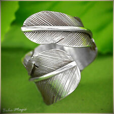 Sterling Silver Ring 925 Genuine Leaf Feather Boho Chic Handmade Adjustable Size