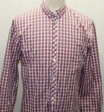 Paul Smith Purple Pink Checkered Men Long Sleeve Shirt Polo Tailored Cotton Smal