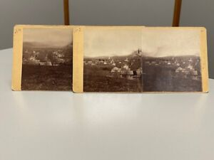 Antique Stereoview Lot Landscape Town View Homesteads Churches Small City View