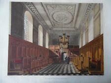 Chapel of Emmanuel College.History of Cambridge Pugin. 1815 Aquatint