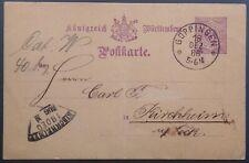 Württemberg, GA-Postkarte Mi P30 von Göppingen nach Kirchheim, 1886, Fächerstpl.