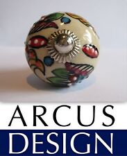Hand Painted Ceramic Knob Red Flowers Cabinet Cupboard Handle Embossed AUS STOCK