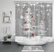 Christmas Winter Snow Snowy Tree Cardinals Shower Curtain Set Bathroom Decor 72""
