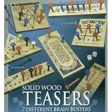 7 Wooden Peg Table Board Game Set Brain Mind Tic Tac Toe Roll-Em Insanity