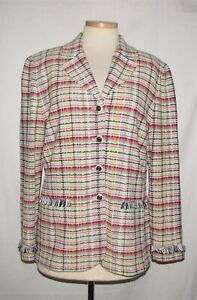St John Pink/Green/Black/White Plaid w/Fringe Trim Button Front Knit Jacket 14
