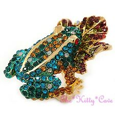 Stunning Statement Catwalk Cocktail Frog On Lily Leaf Ring w/ Swarovski Crystals