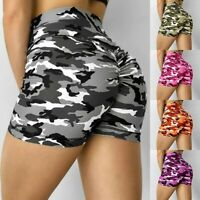 Womens Camouflage Push Up High Waist Shorts Yoga Sports Casual Workout Hot Pants