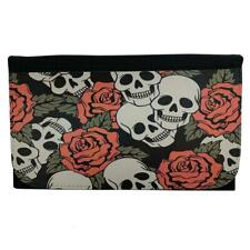 Skull and Roses Women's Wallet Black Poly Canvas Bi-Fold Clutch Coin Purse
