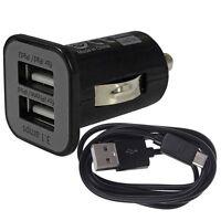 CARGADOR COCHE DE DOBLE 2.1A+1A NEGRO PARA SMARTPHONE MOVIL + CABLE MICRO USB