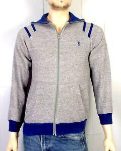 vintage 80s Discus Athletic Gray Blue Rayon Tri Blend Zip Front Sweatshirt M