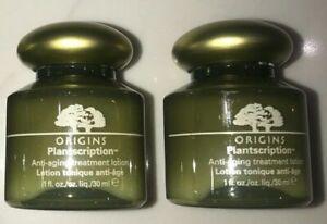 2 x ORIGINS plantscription anti-aging treatment lotion travel 1oz /30ml ea Unbox