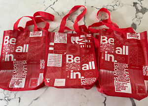 3 Lululemon Reusable Shopping HOLIDAY GIFT Bag White Red Tote College Recycle