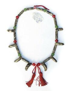 Antique Japanese Magatama Gogok Beads Buddhist Bead Necklace - Lot 17