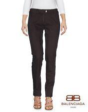 BALENCIAGA pantalon marron foncé en coton extensible coupe Slim Denim Pantalon Jeans-W26/L32