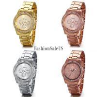 Men's Women's Stainless Steel Band Shiny Rhinestones Casual Quartz Wrist Watch