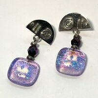 HANDCRAFTED ARTISAN Sterling Silver 925 EARRINGS Dichroic Glass DANGLES Purple
