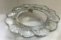 "Lalique Crystal Glass Bowl Gerahium 8 1/2"" France Signed / Label"