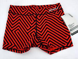 "2XU Fitness 4"" Compression Shorts Women's Small Black/Red Running WA4482b"