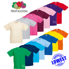 Fruit Of The Loom CHILDRENS T-SHIRT CREW NECK TOP PLAIN TODDLER PE KIDS AGE 1-15