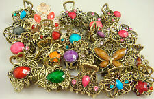 3 pcs Crystal Bronze Metal Alloy Hair Clamp Claw Clips Hairpins wholesale g3gh
