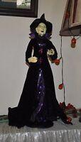NEW ELEGANT WITCH doll Halloween VAMPIRE DRESS STANDING FIGURE BALL BLACK/PURPLE
