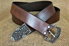 Vikingos Lang cinturón de cuero Gokstad marrón 180cm Lang 4cm ancha de mano de Noruega