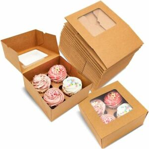 24x Kraft Paper Cupcake Boxes with 4 Inserts Muffin Cookie Party Gift Containers