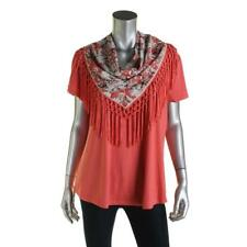 Style & Co. 1342 Womens Orange Scoop Neck Short Sleeves 2PC Casual Top XL BHFO
