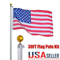 30FT 15 Gauge Aluminum Sectional Flag Pole Kit US American Flag Ball Fly 2 Flags