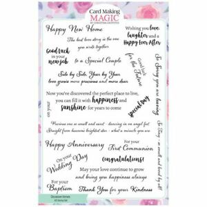 Card Making Magic A5 Stamp Set Occasions Verses Set of 20   Verses and Inserts