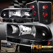 98-04 Chevy Blazer FULL Black Headlight + Bumper Signal + Dark Smoke Tail Lights