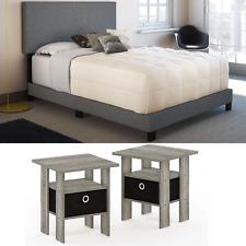 3 Piece Full Size Bedroom Set Furniture Grey Linen Bed Modern Nightstands