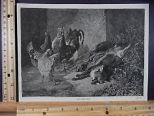 Rare Antique Original VTG 1874 Dead Foe Chickens & Fox Harper Engraved Art Print