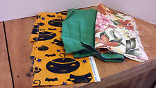 Fabric CRAFTS Quilting 3 small sewing SQUARES pieces Halloween, Floral, teal